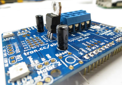 SimpleBot regulator and capacitors placed.jpg